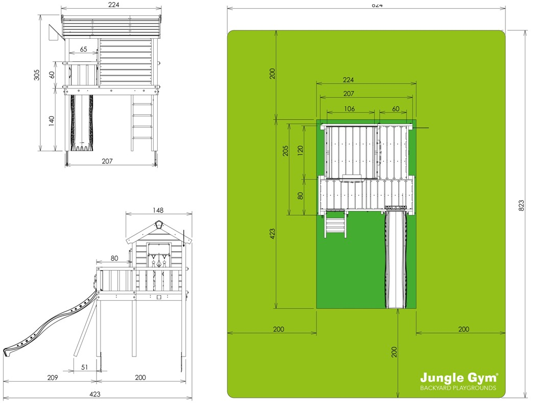 scheda misure Jungle playhouse XL