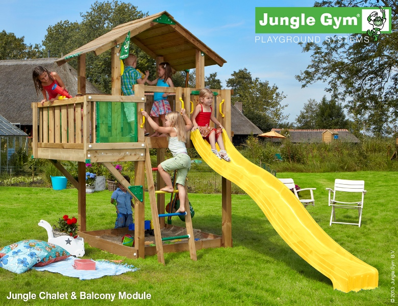 Parco gioco CHALET-BALCONY Jungle Gym con scivolo-mybricoshop_product