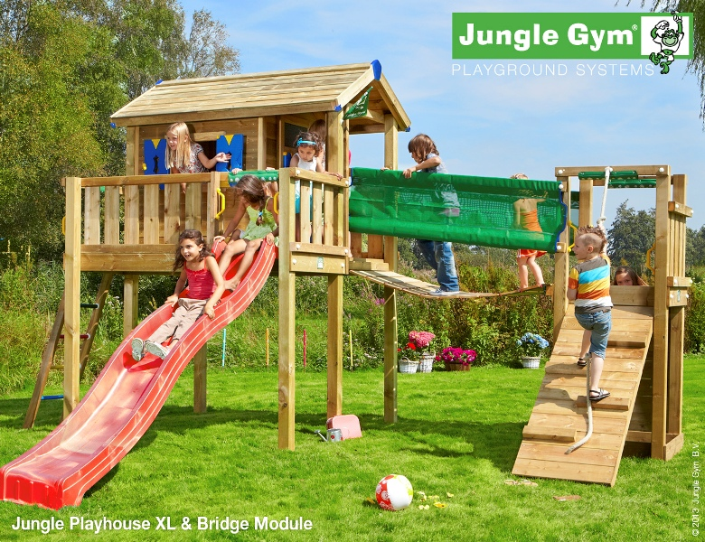 Parco gioco con scivolo e altalena Jungle-Gym-Playhouse-xl-Bridge_mybricoshop