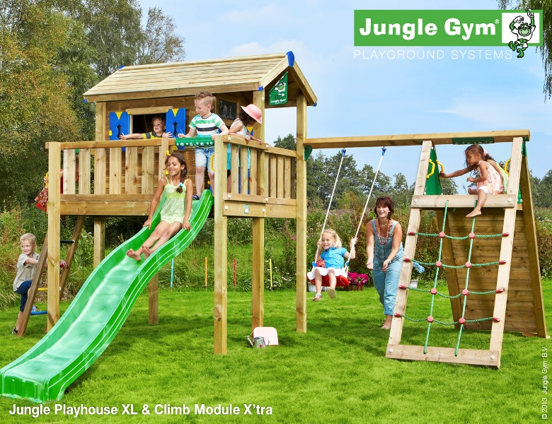 Parco gioco casetta PLAYHOUSE XL-CLIMB Jungle Gym con scivolo_altalena-arrampicata-mybricoshop_product