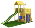 Parco gioco MANSION-PLAYHOUSE Jungle Gym con scivolo, arrampicata e casetta-mybricoshop